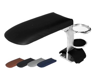 TT Armrest with Cup Holder - Baseball Leather - Black Tunnel